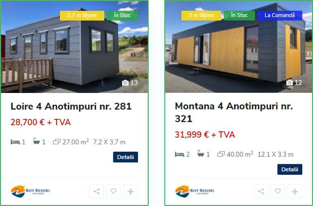Case mobile cu acoperiș verde