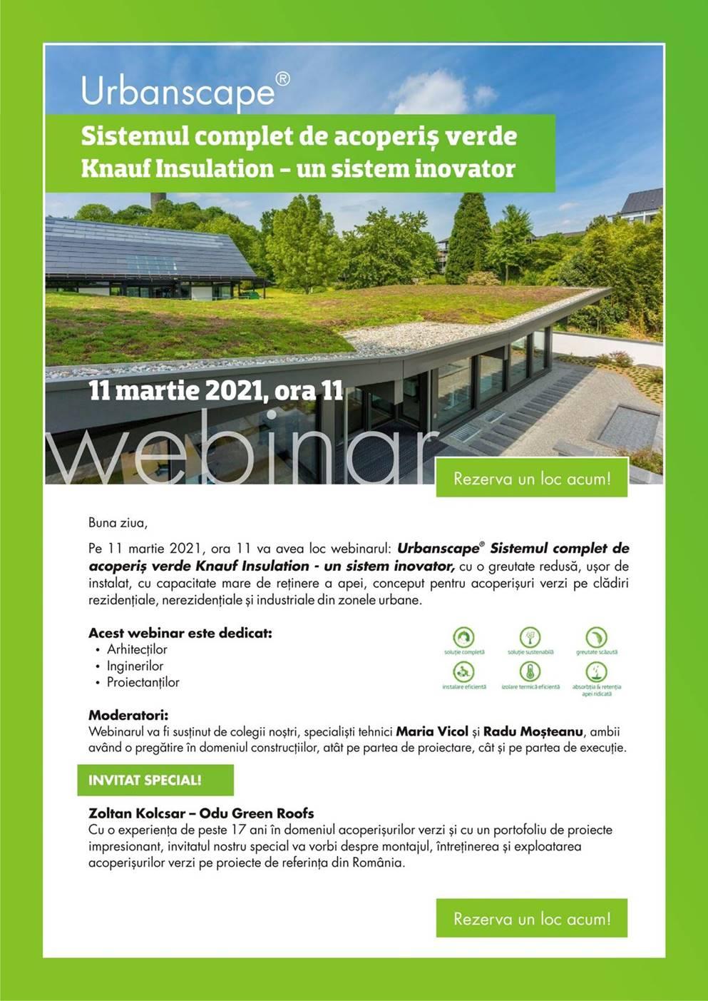 Webinar: Soluții pentru acoperișuri verzi – Urbanscape